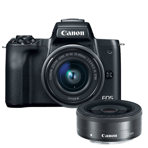 Canon EOS M50 systeemcamera Zwart + 15-45mm IS STM + 22mm STM