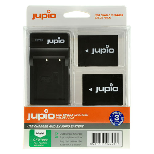 Jupio Kit met 2x Battery NP-W126 + USB Single Charger OUTLET