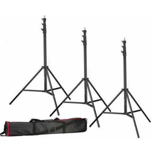 Bresser 3x BR-TP240 Pro Lampstatief 240cm + tas