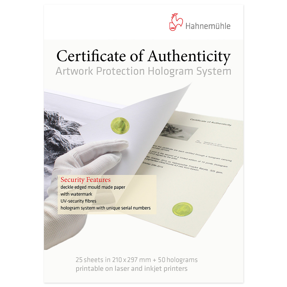 Hahnemuhle Certificate of Authenticity A4 Box 25 vel