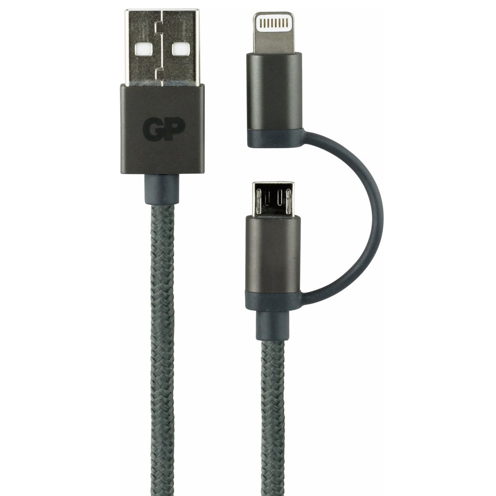 GP CB03 Charge & Sync kabel, 2-in-1 Micro USB + Lightning connector