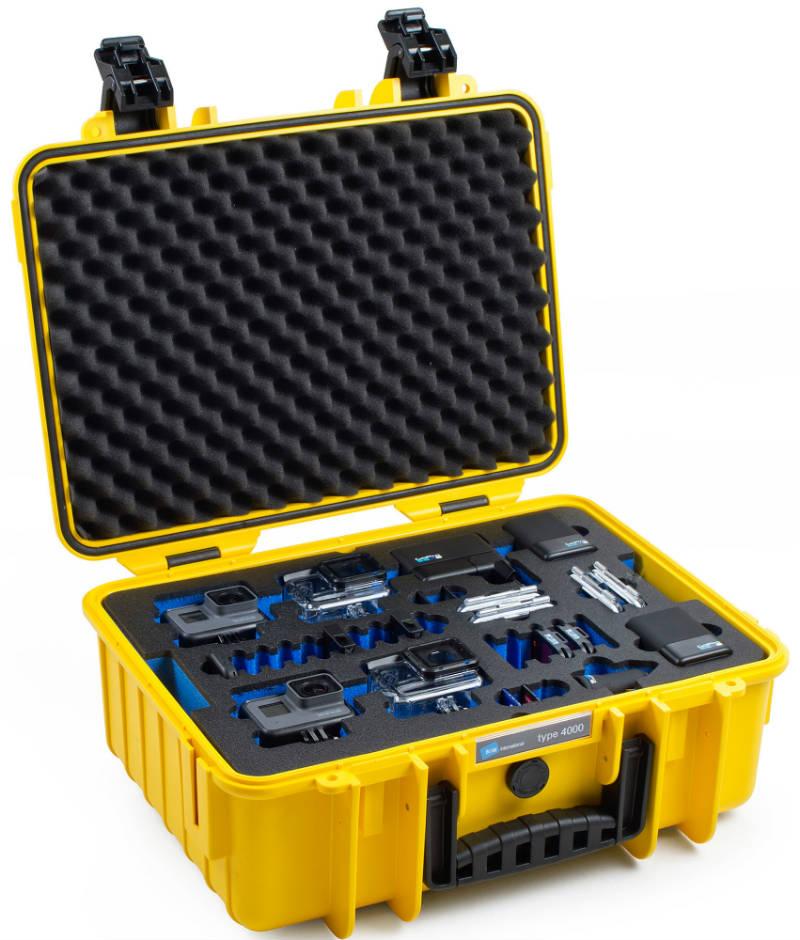 B&W outdoor.cases type 4000 geel + GoPro 5 Inlay