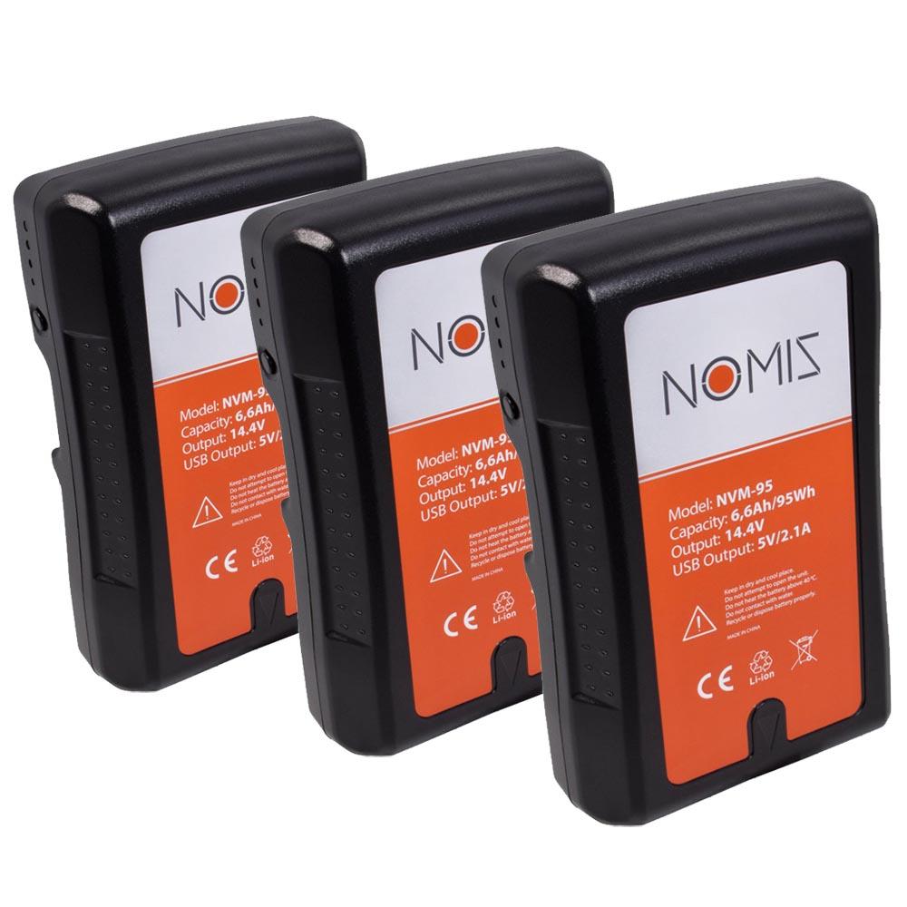 Nomis NVM-95 95Wh V-Mount Batterij 3-Pack