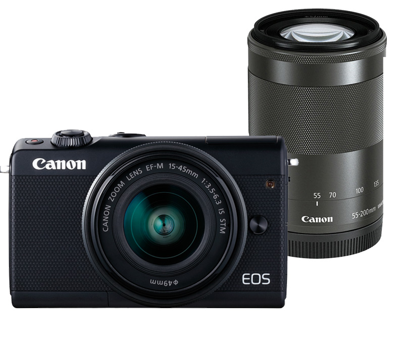 Canon EOS M100 systeemcamera Zwart + 15-45mm IS STM + 55-200mm IS STM