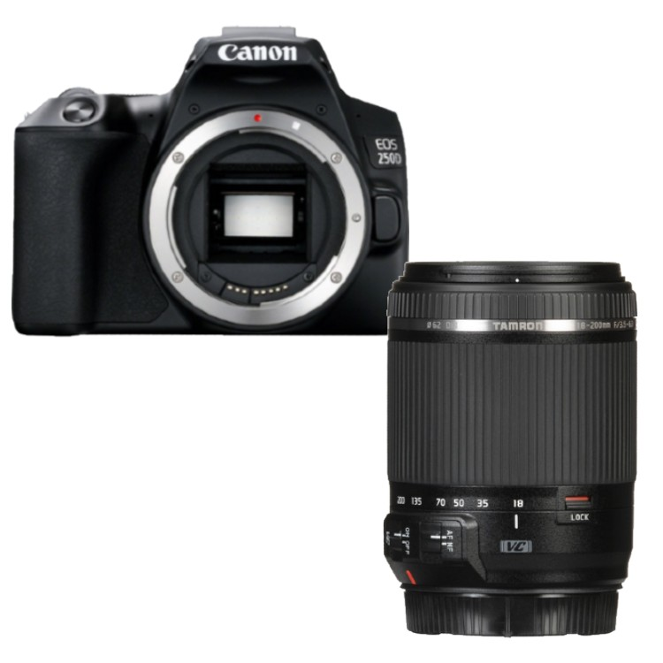 Canon EOS 250D zwart + Tamron 18-200mm Di II VC