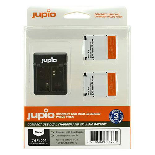 Jupio Kit met 2x Battery GoPro AHDBT-302 HERO3+ 1200mAh + Compact USB Dual Charger