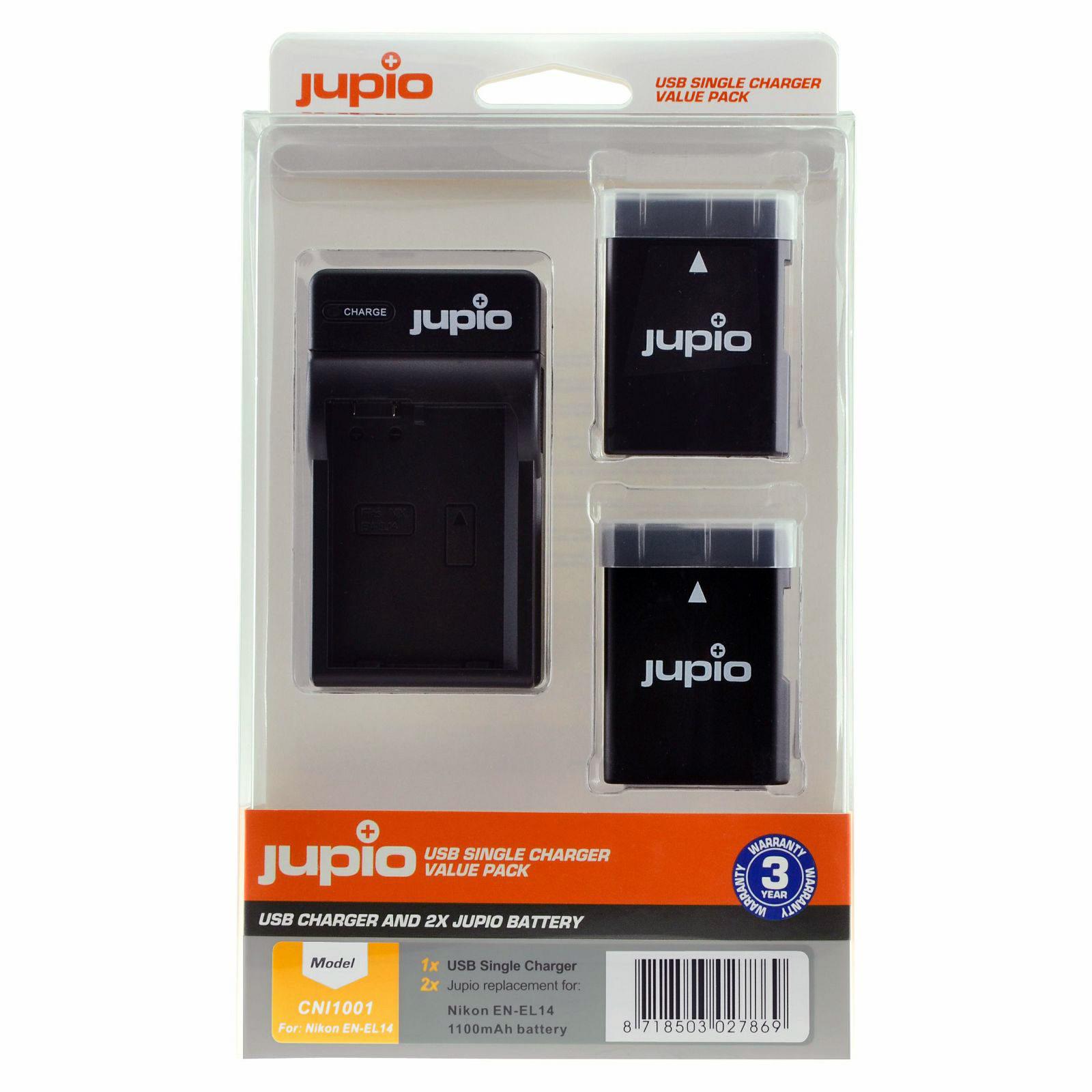 Jupio Kit met 2x Battery EN-EL14/EN-EL14A 1100mAh + USB Single Charger V4