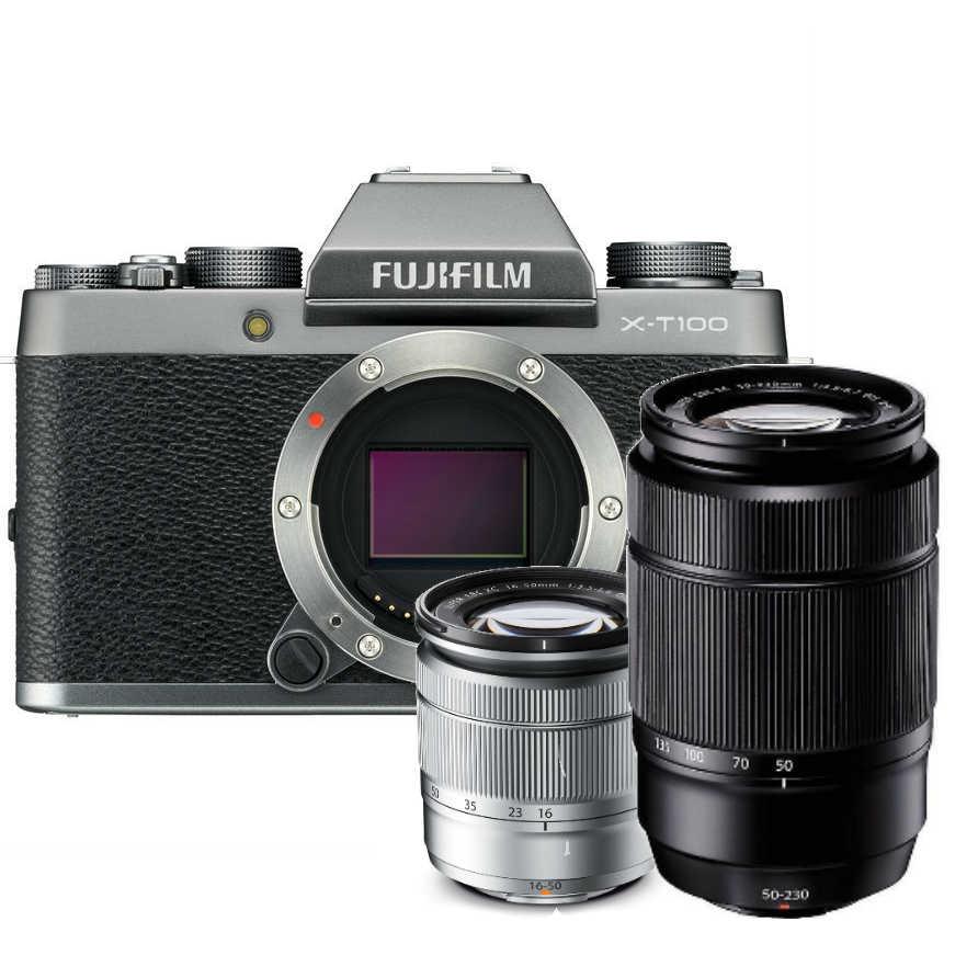 Fujifilm X-T100 zilver + 16-50mm OIS II zilver + 50-230mm OIS II zwart