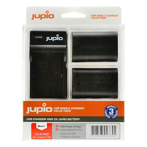 Jupio Kit met 2x Battery LP-E6 1700mAh + USB Single Charger