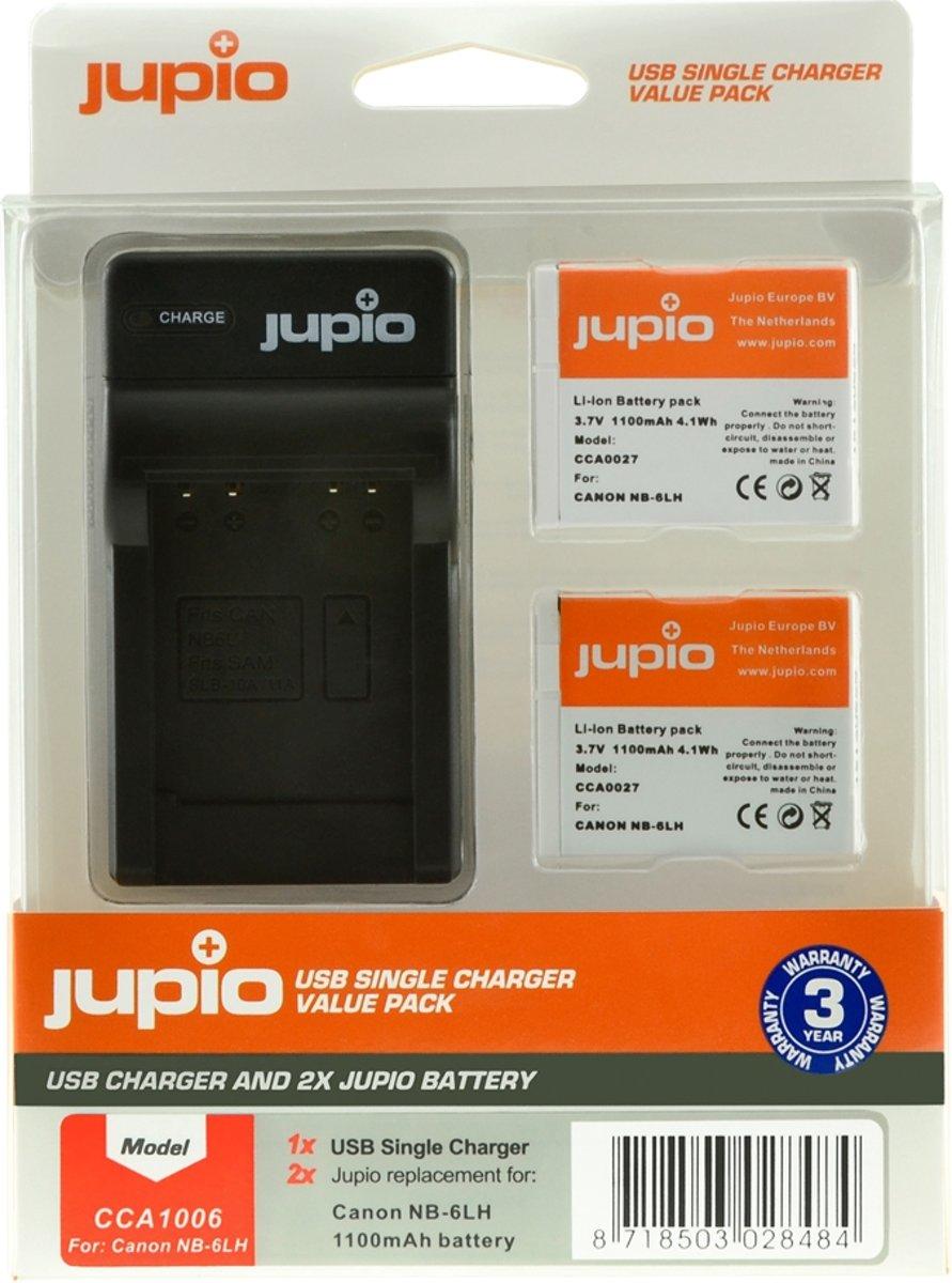Jupio Kit met 2x Battery NB-6LH + USB Single Charger