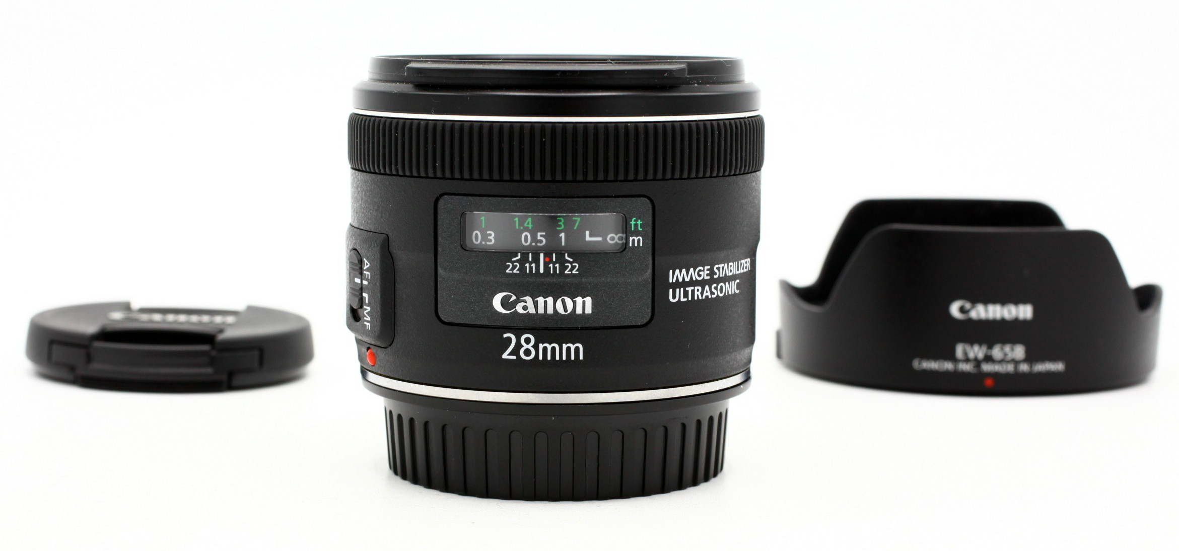 Canon EF 28mm F/2.8 iS USM + zonnekap EW-65B occasion