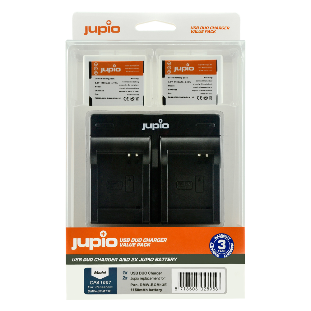 Jupio Kit: 2x Battery DMW-BCM13E + USB Dual Charger