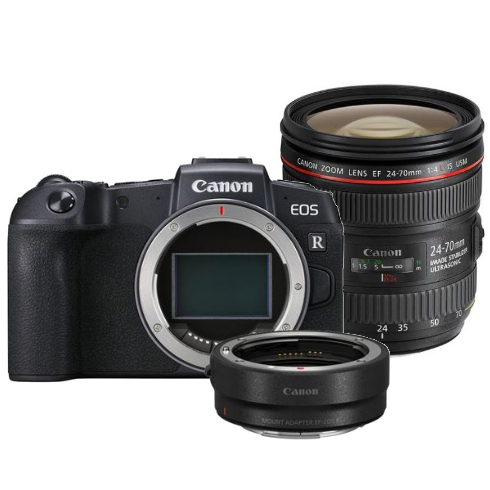 Canon EOS RP Body + EF - RF Mount Adapter + EF 24-70mm F/4.0 L iS USM + EW-83M zonnekap