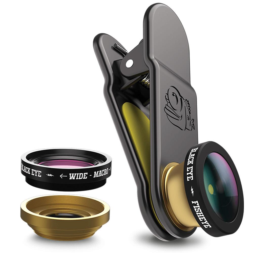 Afbeelding van Black Eye 3 in 1 Set met Wide Angle, Macro en Fish Lens voor Smartphone
