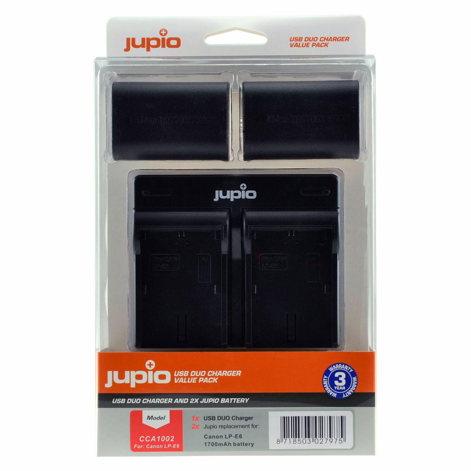 Jupio Kit met 2x Battery LP-E6N Ultra 2040mAh + USB Dual Charger