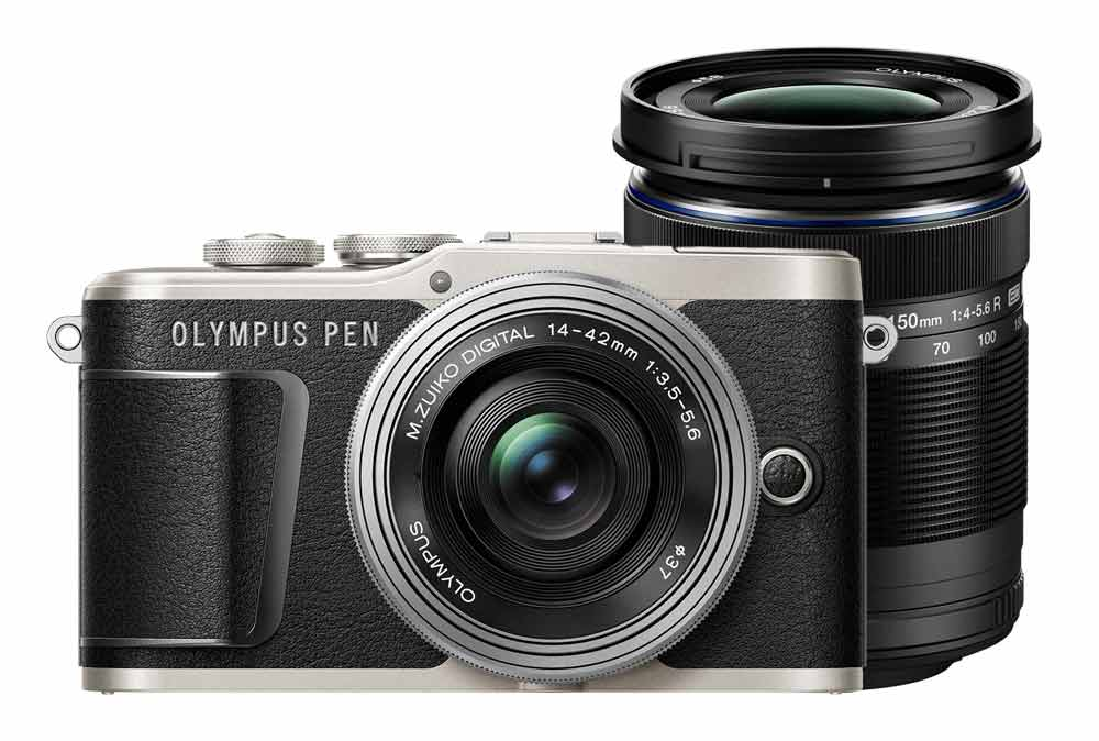 Olympus PEN E-PL9 zwart + 14-42mm Pancake EZ zilver + 40-150mm R ED zwart