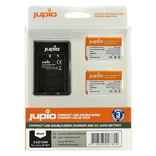 Jupio Kit met 2x Battery NP-BX1 + Compact USB Dual Charger