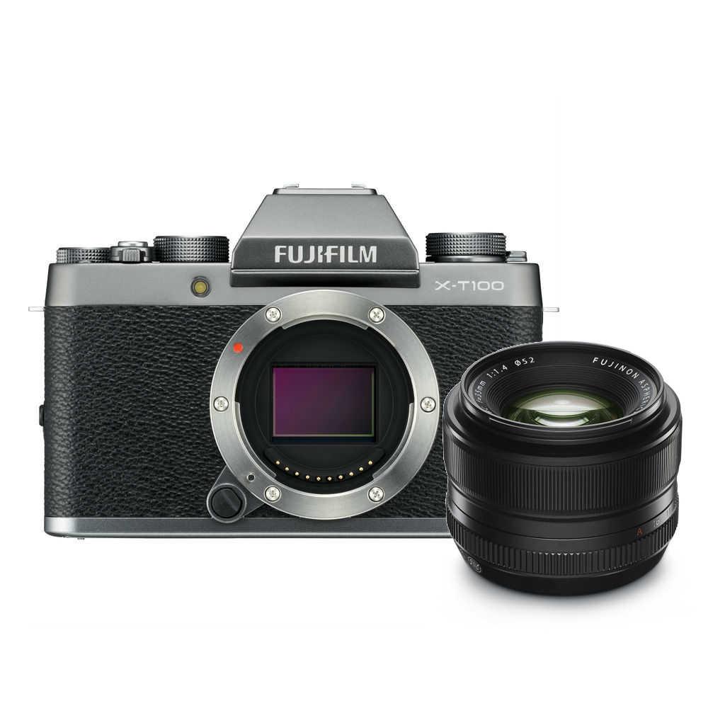 Fujifilm X-T100 zilver + 35mm F/1.4 R
